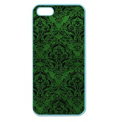 Damask1 Black Marble & Green Leather (r) Apple Seamless Iphone 5 Case (color)