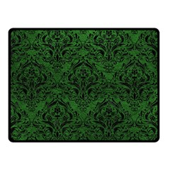 Damask1 Black Marble & Green Leather (r) Double Sided Fleece Blanket (small)