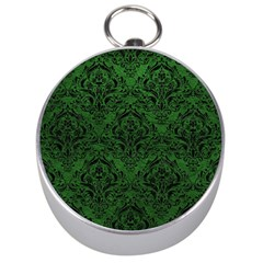 Damask1 Black Marble & Green Leather (r) Silver Compasses