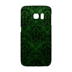 Damask1 Black Marble & Green Leather (r) Galaxy S6 Edge
