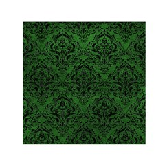 Damask1 Black Marble & Green Leather (r) Small Satin Scarf (square)