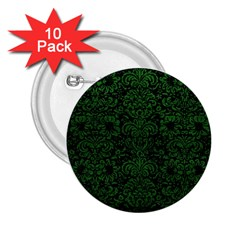 Damask2 Black Marble & Green Leather 2 25  Buttons (10 Pack)