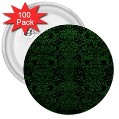 Damask2 Black Marble & Green Leather 3  Buttons (100 Pack)