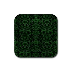 Damask2 Black Marble & Green Leather Rubber Square Coaster (4 Pack)