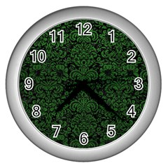 Damask2 Black Marble & Green Leather Wall Clocks (silver)