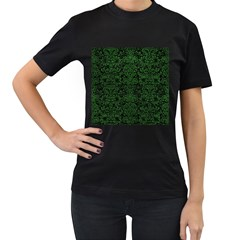 Damask2 Black Marble & Green Leather Women s T Shirt (black) (two Sided)