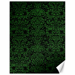 Damask2 Black Marble & Green Leather Canvas 12  X 16