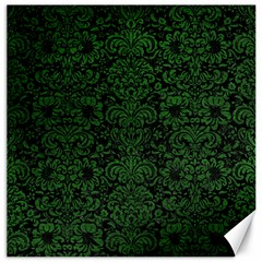 Damask2 Black Marble & Green Leather Canvas 16  X 16