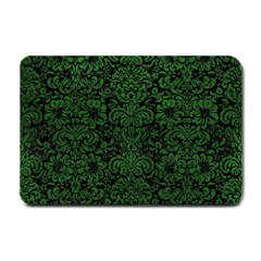 Damask2 Black Marble & Green Leather Small Doormat