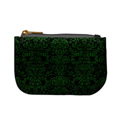 Damask2 Black Marble & Green Leather Mini Coin Purses