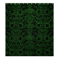 Damask2 Black Marble & Green Leather Shower Curtain 66  X 72  (large)