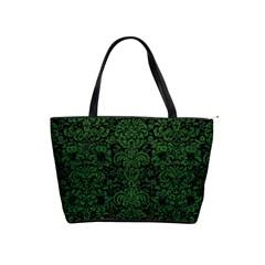 Damask2 Black Marble & Green Leather Shoulder Handbags