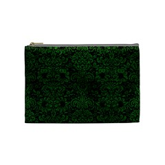 Damask2 Black Marble & Green Leather Cosmetic Bag (medium)