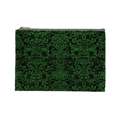 Damask2 Black Marble & Green Leather Cosmetic Bag (large)