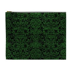 Damask2 Black Marble & Green Leather Cosmetic Bag (xl)
