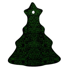 Damask2 Black Marble & Green Leather Christmas Tree Ornament (two Sides)