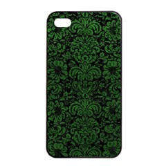 Damask2 Black Marble & Green Leather Apple Iphone 4/4s Seamless Case (black)