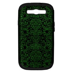 Damask2 Black Marble & Green Leather Samsung Galaxy S Iii Hardshell Case (pc+silicone)