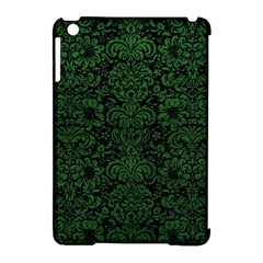 Damask2 Black Marble & Green Leather Apple Ipad Mini Hardshell Case (compatible With Smart Cover)