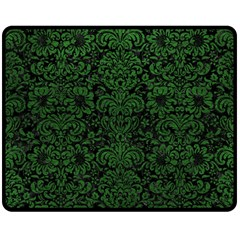 Damask2 Black Marble & Green Leather Double Sided Fleece Blanket (medium)
