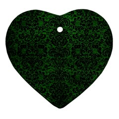 Damask2 Black Marble & Green Leather (r) Ornament (heart)