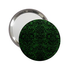 Damask2 Black Marble & Green Leather (r) 2 25  Handbag Mirrors