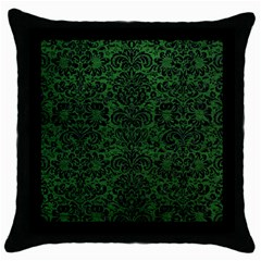 Damask2 Black Marble & Green Leather (r) Throw Pillow Case (black)
