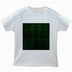 Damask2 Black Marble & Green Leather (r) Kids White T Shirts