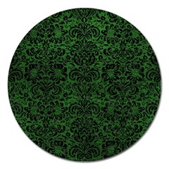 Damask2 Black Marble & Green Leather (r) Magnet 5  (round)