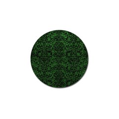 Damask2 Black Marble & Green Leather (r) Golf Ball Marker