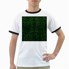 Damask2 Black Marble & Green Leather (r) Ringer T Shirts