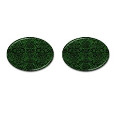 Damask2 Black Marble & Green Leather (r) Cufflinks (oval)