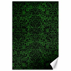 Damask2 Black Marble & Green Leather (r) Canvas 20  X 30