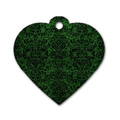 Damask2 Black Marble & Green Leather (r) Dog Tag Heart (two Sides)