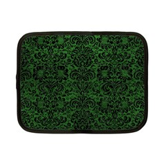Damask2 Black Marble & Green Leather (r) Netbook Case (small)