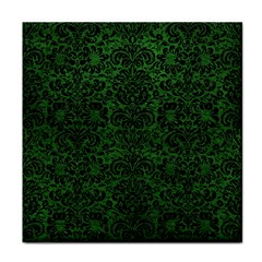 Damask2 Black Marble & Green Leather (r) Face Towel