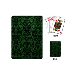 Damask2 Black Marble & Green Leather (r) Playing Cards (mini)