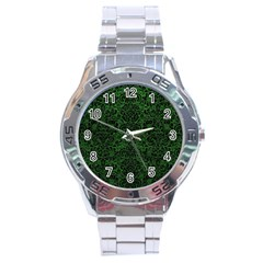 Damask2 Black Marble & Green Leather (r) Stainless Steel Analogue Watch