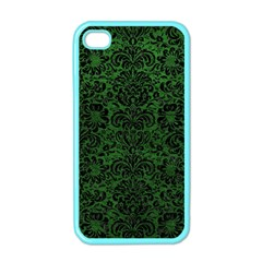 Damask2 Black Marble & Green Leather (r) Apple Iphone 4 Case (color)