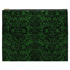 Damask2 Black Marble & Green Leather (r) Cosmetic Bag (xxxl)