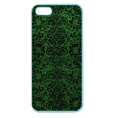 Damask2 Black Marble & Green Leather (r) Apple Seamless Iphone 5 Case (color)