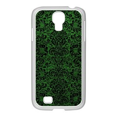 Damask2 Black Marble & Green Leather (r) Samsung Galaxy S4 I9500/ I9505 Case (white)