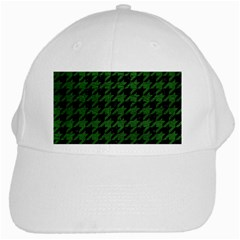 Houndstooth1 Black Marble & Green Leather White Cap