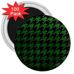 Houndstooth1 Black Marble & Green Leather 3  Magnets (100 Pack)