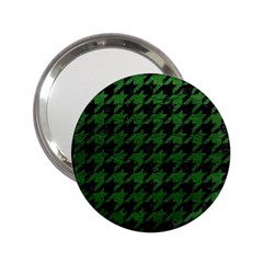 Houndstooth1 Black Marble & Green Leather 2 25  Handbag Mirrors