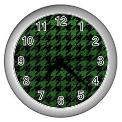Houndstooth1 Black Marble & Green Leather Wall Clocks (silver)