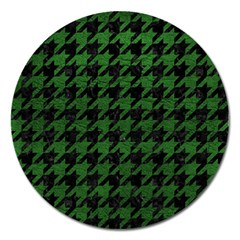 Houndstooth1 Black Marble & Green Leather Magnet 5  (round)
