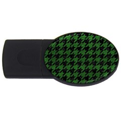 Houndstooth1 Black Marble & Green Leather Usb Flash Drive Oval (2 Gb)