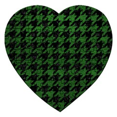Houndstooth1 Black Marble & Green Leather Jigsaw Puzzle (heart)