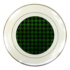 Houndstooth1 Black Marble & Green Leather Porcelain Plates